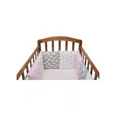 Бортик в кроватку Funecotex Ассорти, цвет: розовый/серый