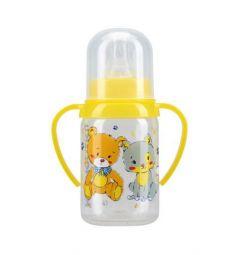 Бутылочка Курносики С крышкой полипропилен, 125 мл, цвет: желтый