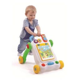 Каталка-ходунки Жирафики с развивающим планшетом и контролем скорости