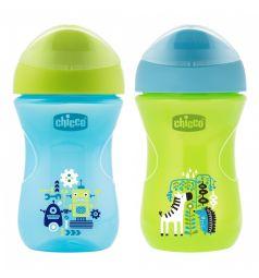 Чашка-поильник Chicco Easy Cup носик ободок, цвет: синий/зеленый