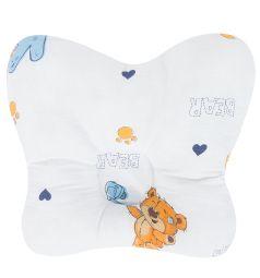 Подушка анатомическая Зайка Моя Мишка Косолапый, цвет: белый/голубой