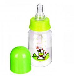 Бутылочка Бусинка Зверушки полипропилен с рождения, 250 мл, цвет: зеленый