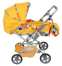 Коляска кукольная Wakart Майя Желтая с цветами