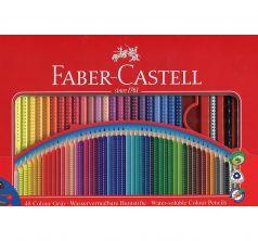 Набор подарочный Faber-Castell цветных карандашей Grip 2001 в металлической коробке с окошком 48 шт. +1 чернографитовый карандаш Grip 2001+1 кисточка+1 точилка