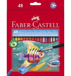 Карандаши акварельные Faber-Castell Рыбки с кисточкой набор цветов в картонной коробке 48 шт.