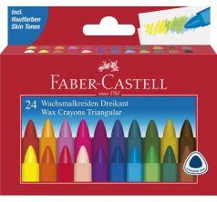 Карандаши трехгранные Faber-Castell восковые Triangular набор цветов в картонной коробке 24 шт.