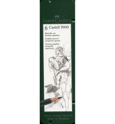 Карандаш чернографитовый Faber-Castell Castell 9000 твердость 2B 4B B HB 6В 8В в металлической коробке 6 шт.