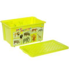 Ящик для хранения игрушек Little Angel X-BOX Обучайка. Животные, цвет: салатовый