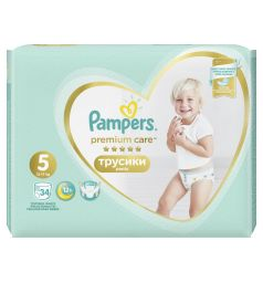 Трусики Pampers Premium Care Pants 5 размер (12-17 кг) 34 шт.