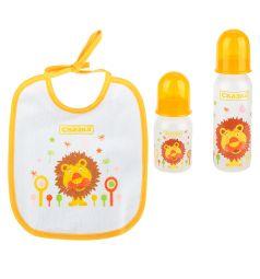 Подарочный набор Сказка рожок+бутылочка+нагрудник полипропилен с рождения, цвет: желтый