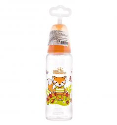Бутылочка Мир Детства с силиконовой соской полипропилен с рождения, 250 мл, цвет: оранжевый