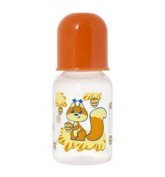 Бутылочка Курносики Мои любимые животные полипропилен с рождения, 120 мл, цвет: оранжевый