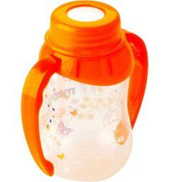 Бутылочка Mepsi С ручками пластик с 4 мес, 125 мл, цвет: оранжевый