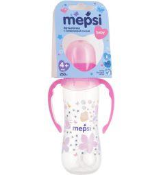 Бутылочка Mepsi С ручками пластик с 4 мес, 250 мл, цвет: розовый