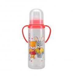 Бутылочка Курносики С ручками полипропилен, 250 мл, цвет: красный
