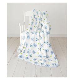 Споки ноки Плед Цветы 100 х 118 см, цвет: голубой