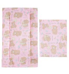 Leader Kids Комплект в коляску Мишка с шариком Матрас/Подушка 2 предмета, цвет: розовый