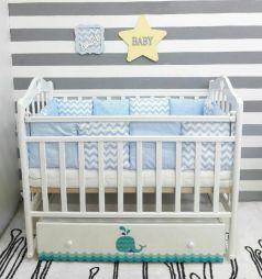 Кровать By Twinz Маленький кит, цвет: белый