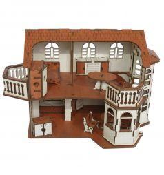 Кукольный домик Iwoodplay Деревянный с эркерами 45 см