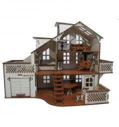 Кукольный домик Iwoodplay Деревянный с гаражом 52 см
