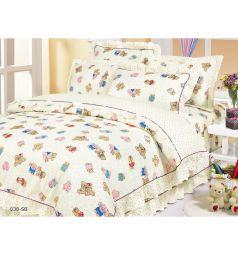 Комплект постельного белья Cleo Игрушки 3 предмета, цвет: бежевый