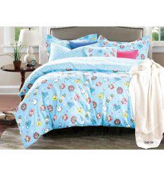 Комплект постельного белья Cleo Игрушки 3 предмета, цвет: голубой
