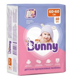 Пеленки My Bunny впитывающие одноразовые с рисунком 60 х 60 см, 10 шт