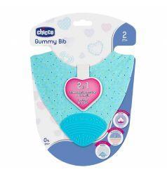 Нагрудник Chicco 2в1 Gummy с прорезывателем, цвет: голубой