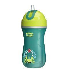 Чашка-поильник Chicco Sport Cup с трубочкой, цвет: зеленый