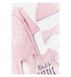 Комплект боди/комбинезон/нагрудник/шапка Acoola, цвет: розовый