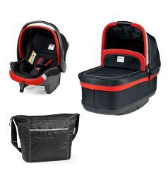 Спальный блок + автокресло Peg-Perego Modular Set Peg-Perego люлька Navetta XL/автокресло Primo Viaggio Tri-Fix/сумка Borsa, цвет: красный/черный