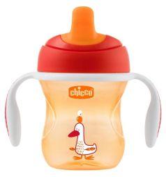 Чашка-поильник Chicco Training cup полужесткий носик, с 6 месяцев, цвет: красный