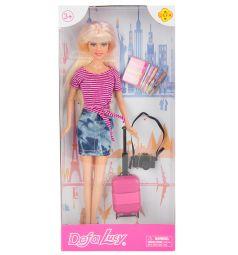 Кукла Defa с чемоданом (джинсовая юбка) 26 см