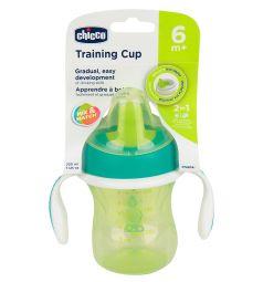 Чашка-поильник Chicco Training cup с полужестким носиком, с 6 месяцев, цвет: зеленый