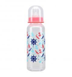 Бутылочка Курносики пластиковая с силиконовой соской полипропилен с рождения, 250 мл, цвет: красный
