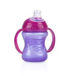 Поильник-непроливайка Nuby с носиком и ручками, с 6 месяцев, цвет: фиолетовый