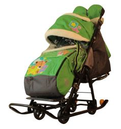 Санки-коляска Galaxy Мишка со звездой, цвет: зеленый