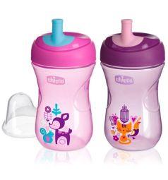 Чашка-поильник Chicco Advanced Cup с трубочкой, цвет: розовый/сиреневый