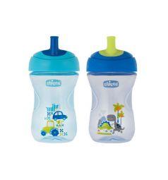 Чашка-поильник Chicco Advanced Cup с трубочкой, с 12 мес, цвет: синий/голубой