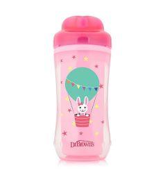 Чашка-термос Dr.Brown's Зайка без носика, с 12 месяцев, цвет: розовый