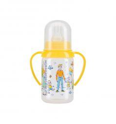 Бутылочка Курносики С ручками полипропилен с 6 месяцев, 120 мл, цвет: желтый
