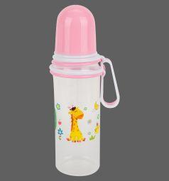 Бутылочка Бусинка для кормления полипропилен с рождения, 250 мл, цвет: розовый