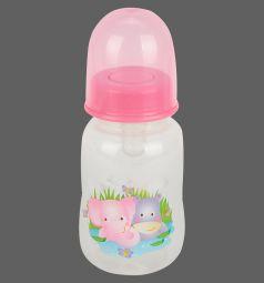 Бутылочка Бусинка для кормления пластик с рождения, 125 мл, цвет: розовый