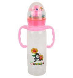 Бутылочка Бусинка с погремушкой полипропилен с рождения, 240 мл, цвет: розовый