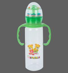 Бутылочка Бусинка с погремушкой пластик с рождения, 250 мл, цвет: зеленый