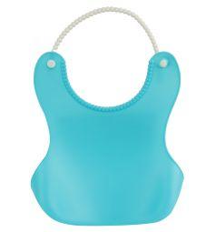 Нагрудник Бусинка пластиковый, цвет: голубой
