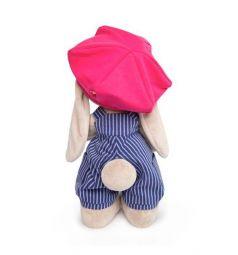 Мягкая игрушка Budi Basa Зайка Ми в синем комбинезоне в полоску и с малиновой кепкой 32 см