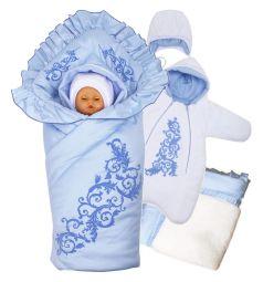 Комплект на выписку Ажур Babyglory, цвет: голубой комбинезон/шапка/полноценное-одеяло