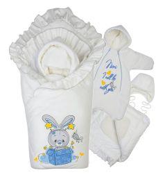 Комплект на выписку День рождения Babyglory, цвет: голубой/бежевый