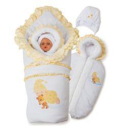 Комплект Соня Babyglory, цвет: бежевый/белый одеяло/конверт/шапка/ползунки/распашонка/пояс